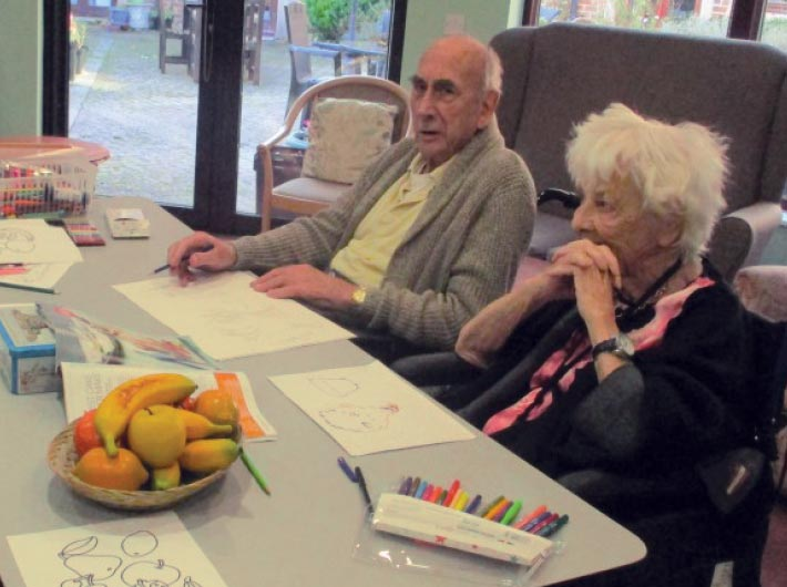 drawing activity at Bay Tree Court Care Home
