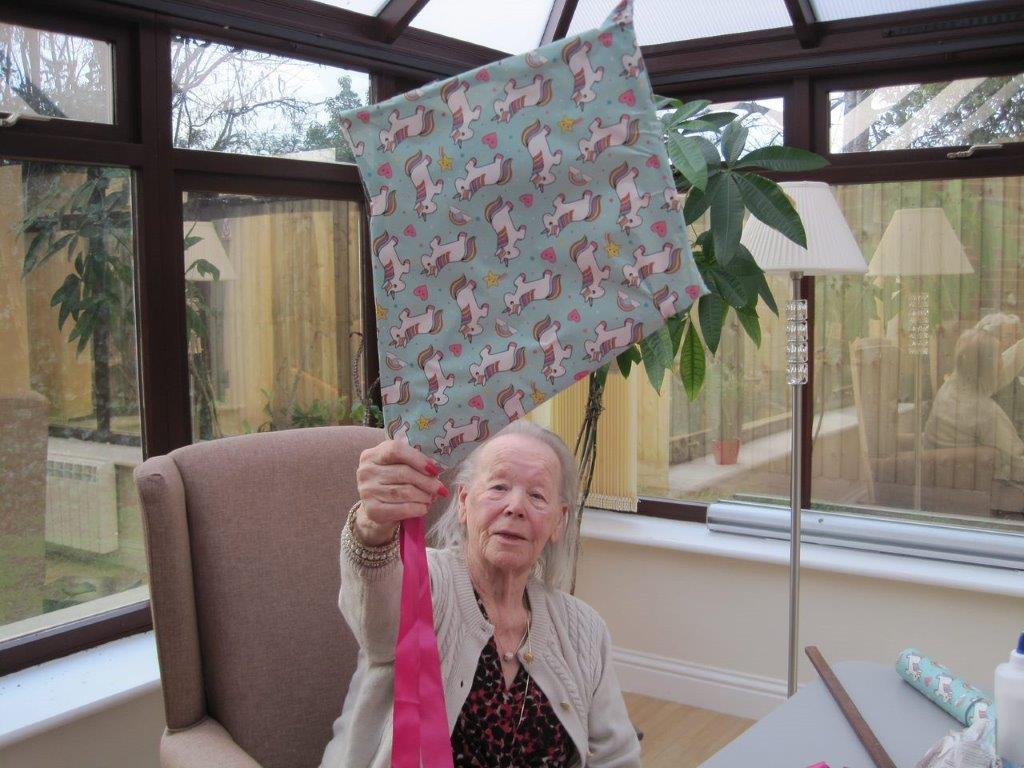 making a kite at Bay Tree Court Care Home