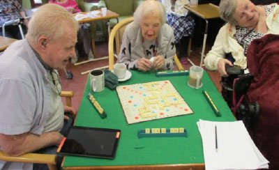playing Scrabble at Bay Tree Court Care Home
