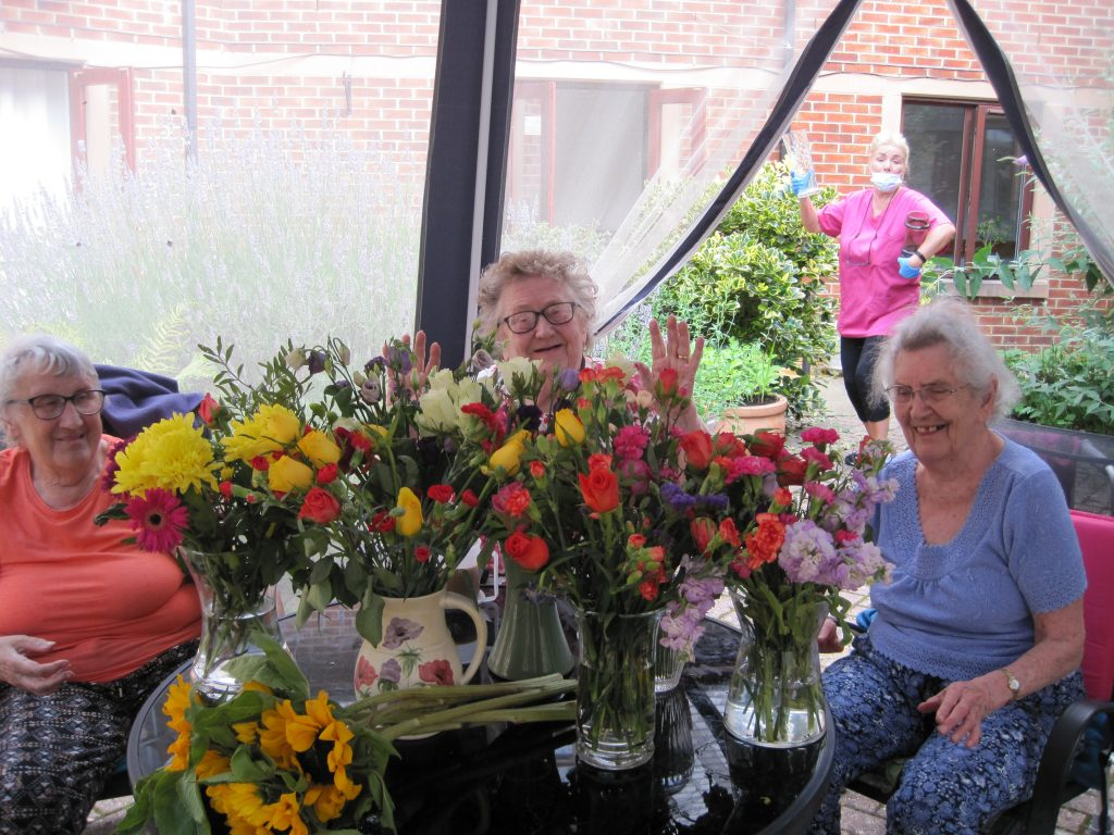 flower arranging at Bay Tree Court Care Home